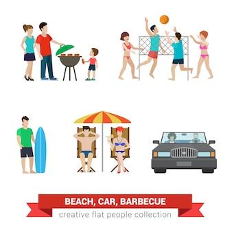 Ustawione sytuacje stylu życia rodzinnego stylu płaski nowoczesny plażowy podwórko. surfer para dzieci rodzicielstwo siatkówka plażowa parasol leżak grill.