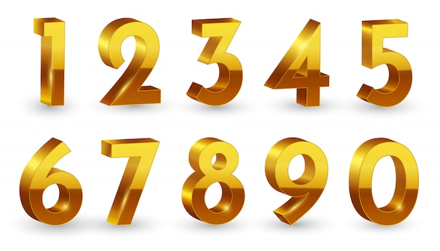 Ustawione złote liczby 3d