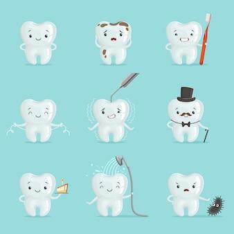 Ustawiono białe zęby z różnymi emocjami. szczegółowe ilustracje kreskówek