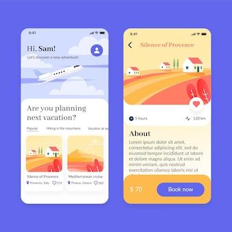 Ustawiono ekrany aplikacji do rezerwacji podróży