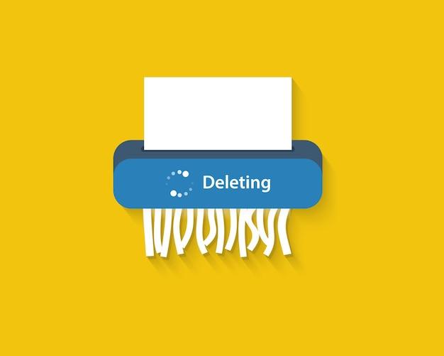 Usuń pliki lub proces usuniętych dokumentów. niszczarka papieru. płaski styl.