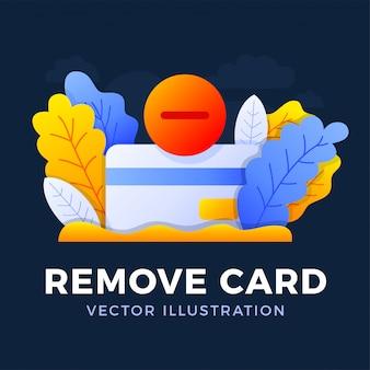 Usuń wektor ilustracja karta kredytowa na białym tle. koncepcja zamknięcia konta bankowego. wypowiedzenie umowy. usunięcie bankowej karty kredytowej.