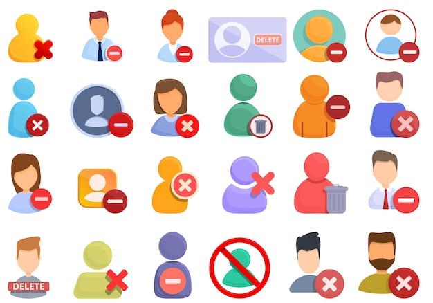 Usuń zestaw ikon użytkownika. kreskówka zestaw ikon wektorowych do usuwania użytkownika do projektowania stron internetowych