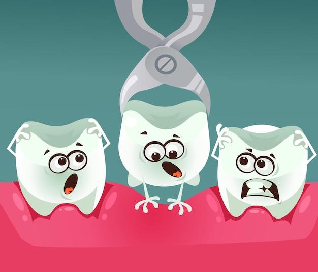 Usuwanie charakteru zęba stomatologia koncepcja kreskówka płaski ilustracja
