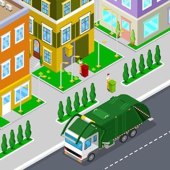 Usuwanie śmieci z izometrycznymi ludźmi i śmieciarką miejską. ilustracja