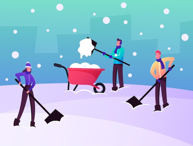 Usuwanie śniegu i lodu po ilustracji blizzarda. wesołe postacie usuwają zaspy śnieżne łopatami z ziemi oczyść podwórko ze śniegu
