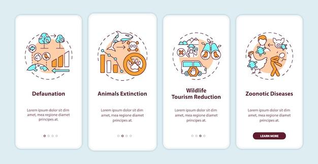 Uszkodzenia przyrody na ekranie strony aplikacji mobilnej z koncepcjami