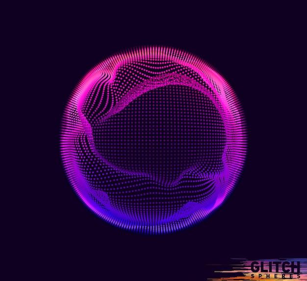 Uszkodzona kula fioletowego punktu. abstrakcyjna kolorowa siatka w ciemności