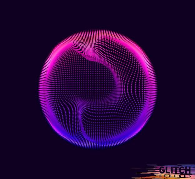 Uszkodzona kula fioletowego punktu na ciemnym tle