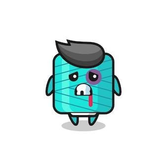 Uszkodzona postać szpuli przędzy z posiniaczoną twarzą, ładny styl na koszulkę, naklejkę, element logo