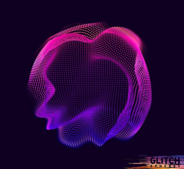 Uszkodzona sfera fioletowego punktu. abstrakcyjna kolorowa siatka na czarno