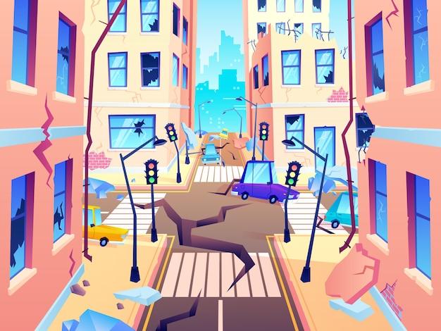 Uszkodzona ulica miasta. trzęsienie ziemi szkoda, kataklizm uszkadza zniszczenie drogi i zniszczoną miejską rozdroże kreskówki ilustrację
