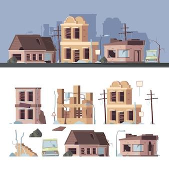 Uszkodzone budynki. złe stare domy kłopoty opuszczone zewnętrzne drewniane zniszczone konstrukcje wektor zestaw kolekcja. ilustracja uszkodzenia budynku, trzęsienie ziemi w wypadku, architektura zewnętrzna