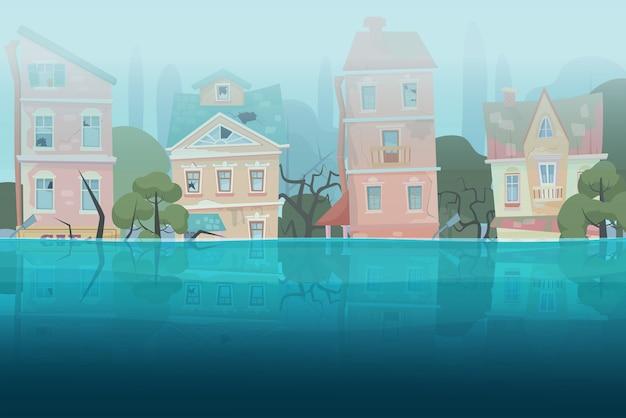Uszkodzone przez klęskę żywiołową powódź domy i drzewa częściowo zanurzone w wodzie w koncepcji miasta z kreskówek.