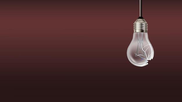 Uszkodzone spalony żarówka kopia przestrzeń wektor. rozbita żarówka elektryczna z drucianym żarnikiem zwisającym z sufitu. zniszczony szablon spalonej lampy realistyczna ilustracja 3d