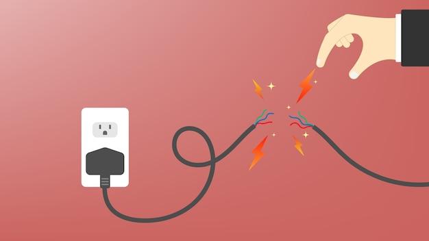 Uszkodzony kabel zasilający