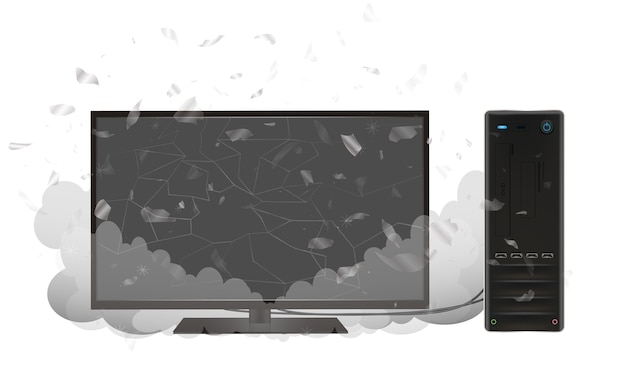 Uszkodzony komputer stacjonarny i monitor
