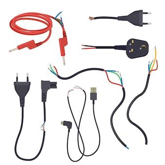 Uszkodzony przewód. kable elektryczne przecięte, zgubione, przerwa sygnału, zestaw kreskówka wtyczki.