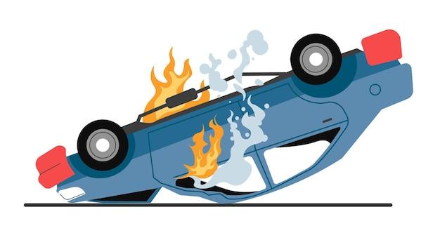 Uszkodzony samochód płonący na drodze, odizolowany pojazd z płomieniami i dymem. incydent drogowy, wypadek samochodowy lub wypadek drogowy. katastrofa na autostradzie, niebezpieczna przerwa samochodowa. wektor podpalenia lub wandalizmu