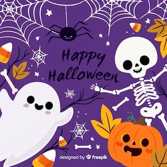 Ute Halloween Tło Z Płaskim Projektem Premium Wektorów