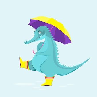 Ute krokodyl w gumowych butach spaceruje z wektorem parasolowym