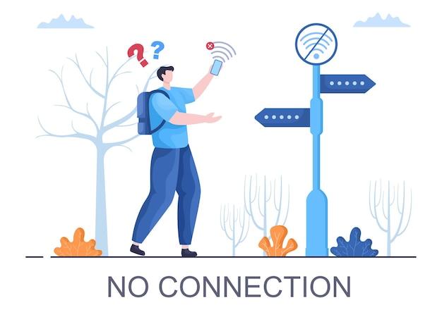 Utracono połączenie bezprzewodowe lub odłączony kabel, brak sygnału internetowego wi-fi, nie znaleziono strony na ekranie smartfona. ilustracja wektorowa tła