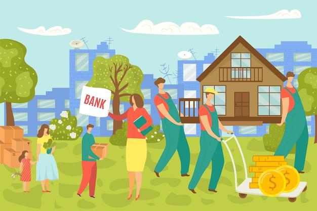 Utrata majątku, rodzina sprzedaje i przenosi dom, niepewność koncepcji rynku mieszkaniowego, ilustracja. upadek i kryzys w finansach i kredytach hipotecznych. krach ekonomiczny na nieruchomości mieszkaniowej.