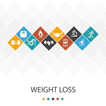 Utrata masy ciała modny koncepcja infografiki szablon interfejsu użytkownika. waga ciała, zdrowa żywność, siłownia, ikony diety