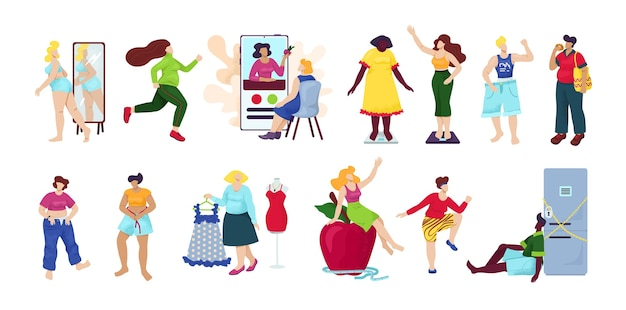 Utrata masy ciała, zestaw diety na białym tle. kobieta z nadwagą staje się cienka. idea fitnessu i zdrowej diety. proces utraty wagi. kobieta z dużym brzuchem, osoba cierpi na otyłość.