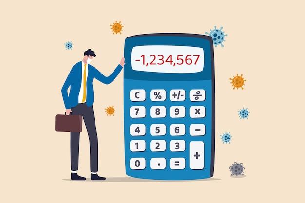 Utrata pieniędzy w kryzysie koronawirusa covid-19, przedsiębiorca lub firma nie może zapłacić za dług i koncepcję bankructwa, biedny biznesmen w depresji, stojący z ujemnymi liczbami kalkulatora i patogenem wirusa.