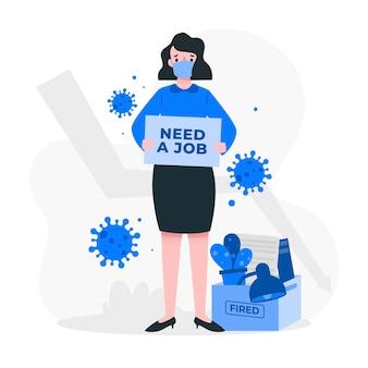 Utrata pracy z powodu kryzysu koronawirusa u kobiety