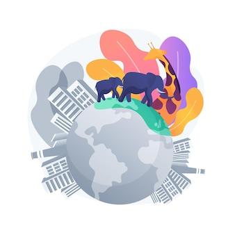 Utrata siedlisk dzikich zwierząt ilustracja koncepcja abstrakcyjna. utrata dzikiej przyrody, globalne zniszczenie siedlisk, zagrożenie wyginięciem dzikich zwierząt, środowisko, zagrożone gatunki
