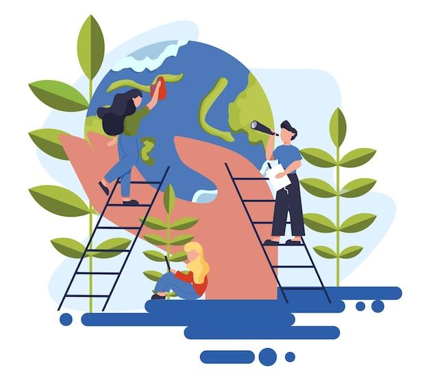 Utrzymuj ideę ziemi w czystości. koncepcja recyklingu i czyszczenia. ekologia i troska o środowisko. idea ponownego wykorzystania śmieci.