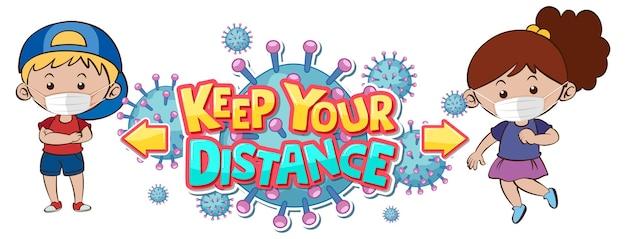 Utrzymuj projekt czcionki na odległość z dwójką dzieci utrzymujących dystans społeczny na białym tle