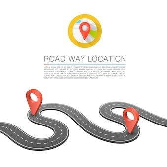Utwardzona ścieżka na drodze, lokalizacja drogi, tło wektor, zakrzywione oznakowania dróg.