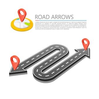 Utwardzona ścieżka na drodze, lokalizacja strzałki drogowej. tło wektor
