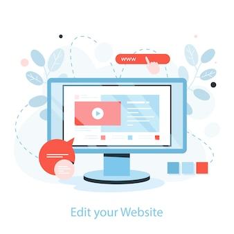 Utwórz proces witryny internetowej. koncepcja rozwoju sieci.