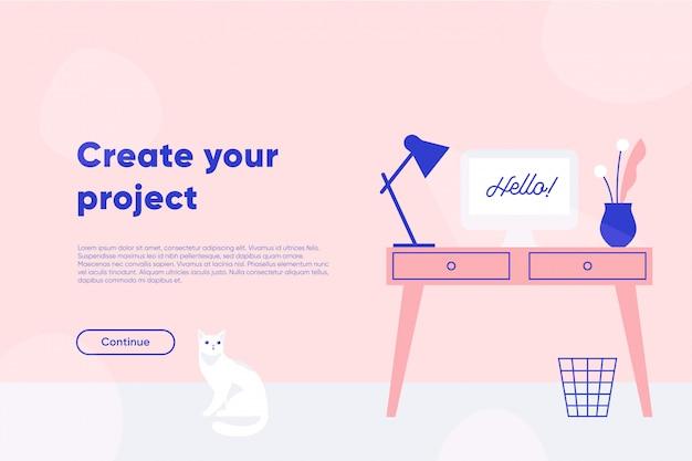 Utwórz stronę docelową projektu. freelancer, miejsce pracy, stół z komputerem, lampa i roślina. płaska ilustracja.