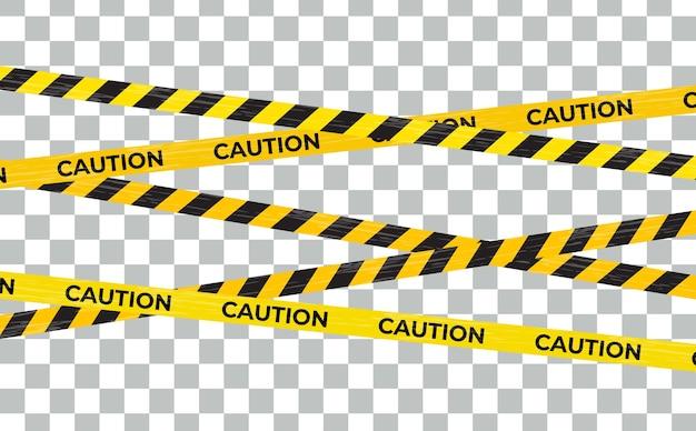 Uwaga linie ostrzegawcze, znaki niebezpieczeństwa na białym tle.