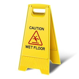 Uwaga mokrej podłodze żółty znak z tworzywa sztucznego podłogi. ikona ilustracja na białym tle.