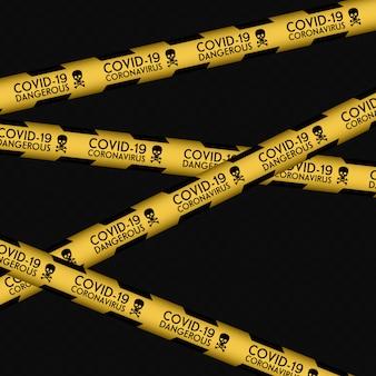 Uwaga na wirus corona 2020, linia ostrzegawcza. żółta linia w paski. infekcje wirusowe. koronawirus (2019-ncov). wirus covid 19-ncp. komórki wirusa