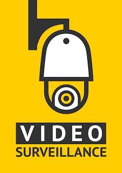 Uwaga naklejka z symbolem wideo cctv do druku.