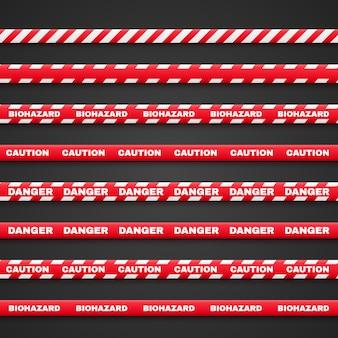 Uwaga, niebezpieczeństwo, czerwone wstążki z napisem ostrzegają. ilustracja na białym tle na czarnym tle.