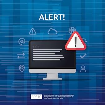 Uwaga ostrzeżenie atakujący znak ostrzegawczy z wykrzyknikiem na ekranie monitora komputera. strzeż się czujności ikony niebezpieczeństwo internetowe.