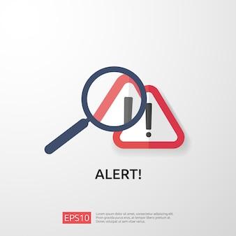 Uwaga ostrzeżenie atakujący znak ostrzegawczy z wykrzyknikiem. uważaj na symbol niebezpieczeństwa w internecie. ikona linii tarczy dla vpn. technologia ochrony bezpieczeństwa cybernetycznego. ilustracja.