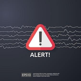 Uwaga ostrzeżenie atakujący znak ostrzegawczy z wykrzyknikiem. uważaj na symbol niebezpieczeństwa w internecie. ikona linii tarczy dla vpn.