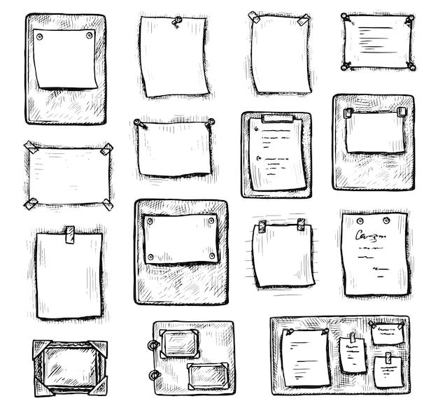 Uwaga papierowa. ręcznie rysowane grawerowany arkusz papieru lepkiego do notatki na białej ścianie. pusta strona przypomnienia lub planera i zestaw ikon tablicy nastroju. pusta ilustracja ramki makiety. styl vintage