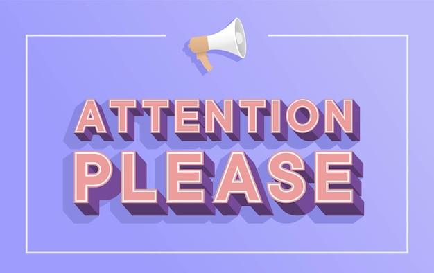 Uwaga proszę słowo z koncepcją ilustracja megafon, wykrzyknik znak ostrzegawczy, ulotka
