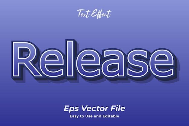 Uwalnianie efektów tekstowych łatwy w użyciu i edytowalny wektor premium