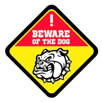 Uważaj na znak psa z głową wściekłego byka